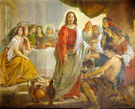 первое чудо иисуса претворение воды в вино на браке в кане галилейской