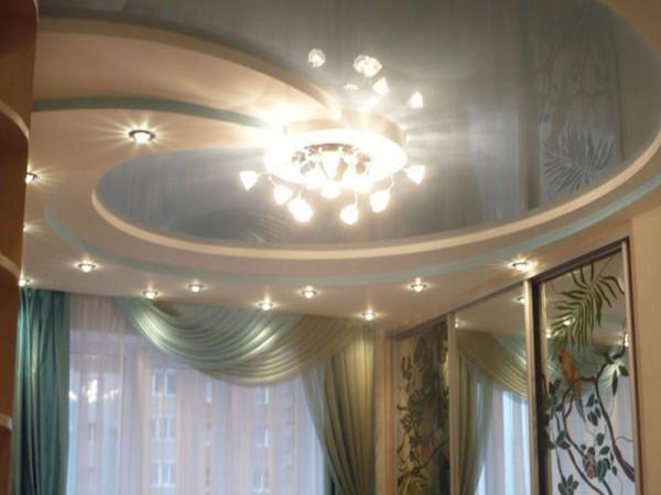 натяжной потолок с гипсокартоном фото